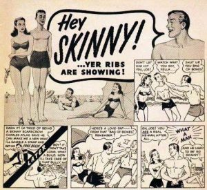 Image of a cartoon strip depicting a bully teasing a skinny guy on beach. Skinny guy builds muscle and beats up bully